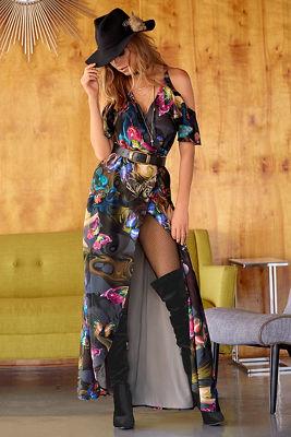 midnight butterlfy cold-shoulder maxi dress
