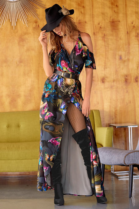 midnight butterlfy cold-shoulder maxi dress image