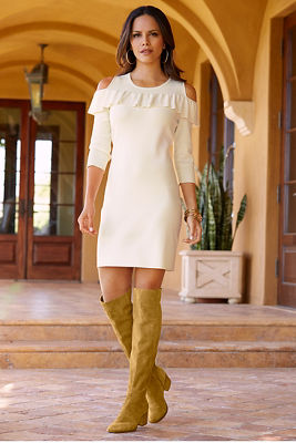 Cold shoulder ruffle sweater dress