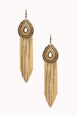 Teardrop fringe earrings