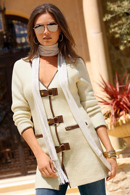 Buckle detail sweater coat