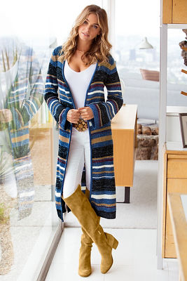 Fall striped duster sweater