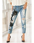 Mesh Applique Ankle Jean Photo