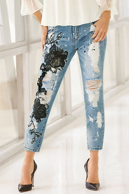 Mesh applique ankle jean