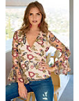 Mesh Embroudered Flare-sleeve Top Photo