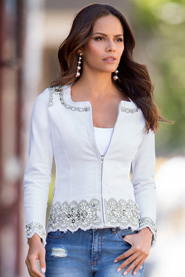 Jeweled embroidered denim jacket