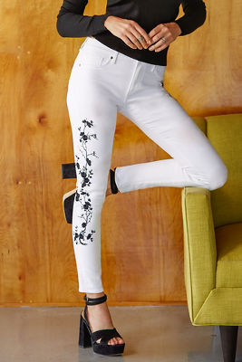 White and black vine jean