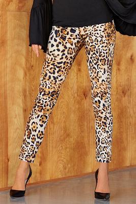 Back zip chic leopard pant