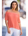 Off-the-shoulder Romantic Pleated Top Photo