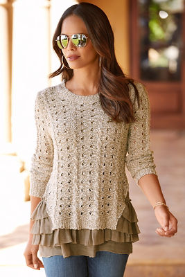 Crochet ruffle trim sweater