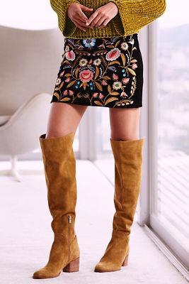 Velvet embroidered mini skirt