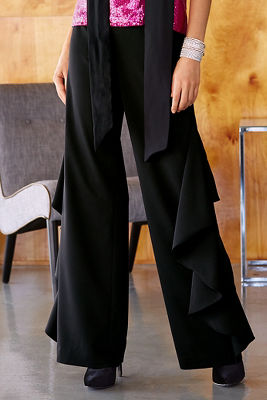 Cascading ruffle trouser