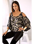 Metallic Camo Cold-shoulder Top Photo