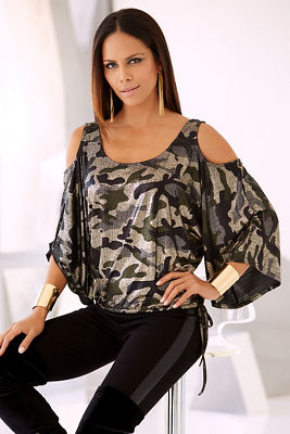 Metallic camo cold-shoulder top