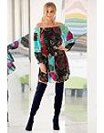 Velvet Embroidered Off-the-shoulder Blouson Dress Photo