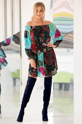 Velvet embroidered off-the-shoulder blouson dress