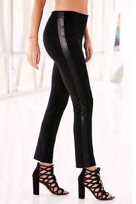 Back zip vegan leather ponte pant