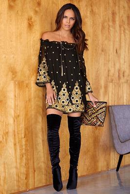 Off-the-shoulder embellished dress