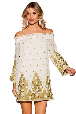 off-the-shoulder embellished dress