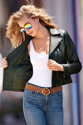 Sleek leather moto jacket