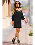 Pleated Lace Cold-shoulder Dress Photo