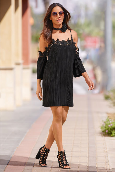Pleated Lace Cold Shoulder Dress Boston Proper