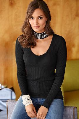 Pearl mock-neck sweater