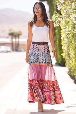 Printed tassel maxi skirt