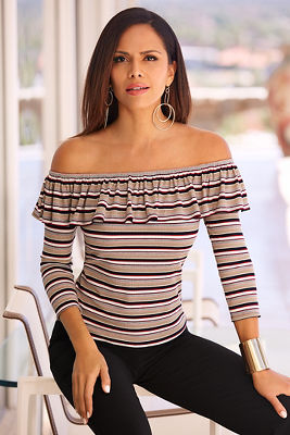 Ribbed striped ruffle top