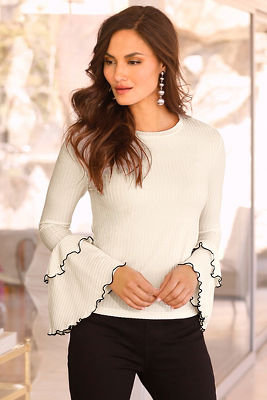 Ribbed tiered sleeve top