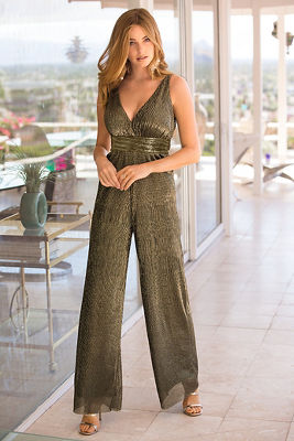 Metallic plunge jumpsuit