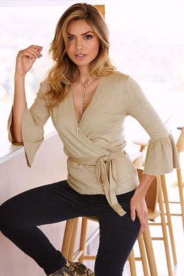 Bell sleeve wrap sweater
