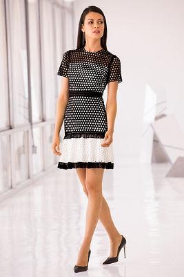 Black white circle lace dress