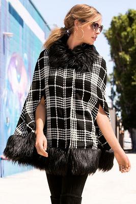 Boucle faux-fur trim poncho