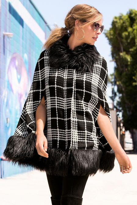 Boucle faux-fur trim poncho image