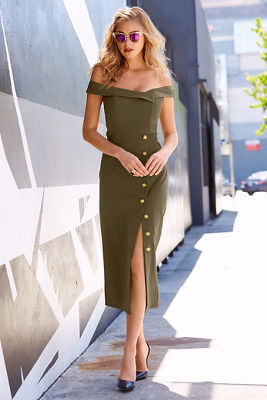 Military off-the-shoulder dress