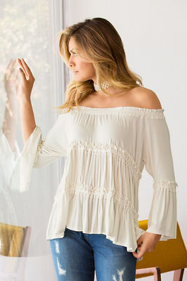 Off-the-shoulder ribbon flare-sleeve top