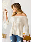 Off-the-shoulder Ribbon Flare-sleeve Top Photo
