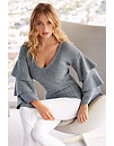 Ruffle Sleeve V-neck Sweater Photo