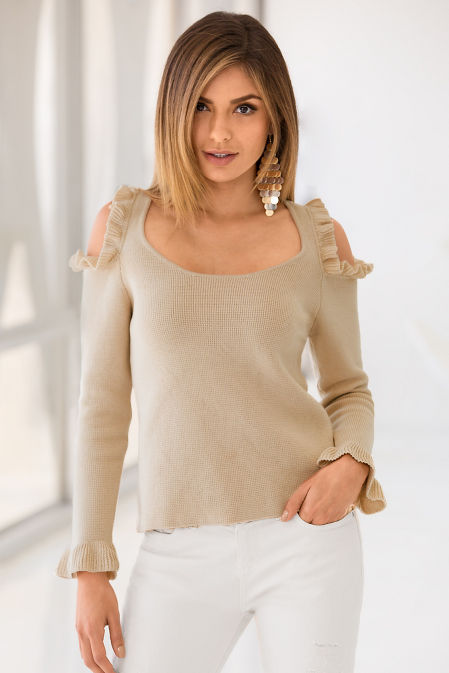 Cold shoulder ruffle sweater image