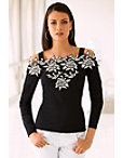 Cold Shoulder Two-tone Lace Sweater Photo