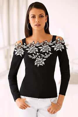 Cold shoulder two-tone lace sweater