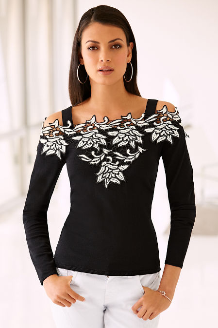 Cold shoulder two-tone lace sweater image