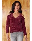 Cold Shoulder V-neck Chenille Sweater Photo