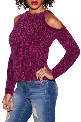 Chenille cold-shoulder sweater