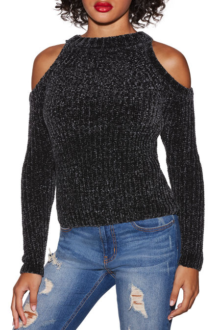 Chenille cold-shoulder sweater image