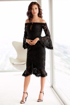 Chunky lace off-the-shoulder dress