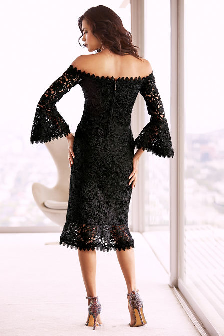 Chunky lace off-the-shoulder dress image