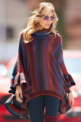 Colorful striped poncho