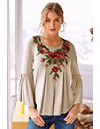 Rose Embroidered Neck Top Photo